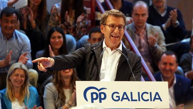Feijóo en un mitin en Lugo durante la campaña de las elecciones municipales