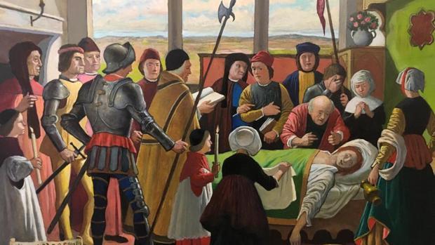 Uno de los cuadros, donde se representa el lecho de muerte de Jorge Manrique