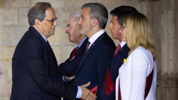 Quim Torra y Manuel Valls en el Palau de la Generalitat