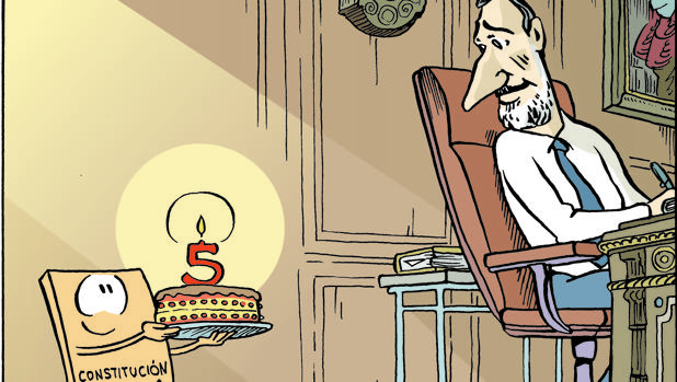 Viñeta del quinto aniversario del Rey Felipe VI