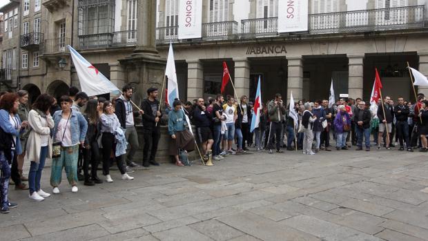 Concentración de apoyo a los detenidos celebrada el pasado día 17 en Santiago