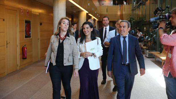 Rocío Monasterio, junto con varias personas de su equipo, ayer en la Asamblea de Madrid