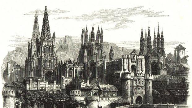 Vista de Burgos en un grabado impreso en Londres en el siglo XIX