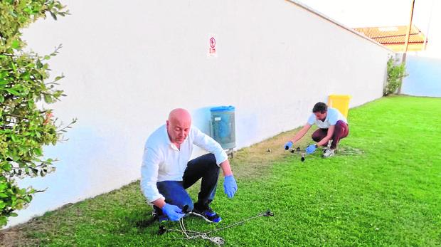 El alcalde de Paredes de Nava, Luis Calderón, coloca trampas cada noche para acabar con los topillos