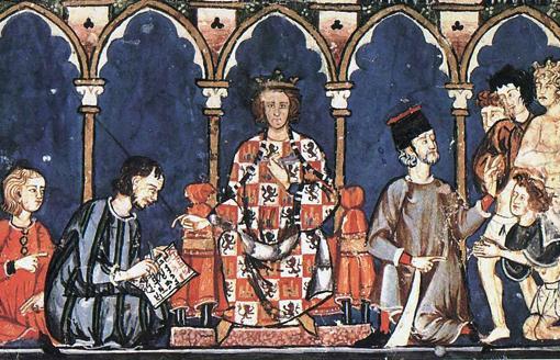 Alfonso X el Sabio con sus colaboradores del escritorio real