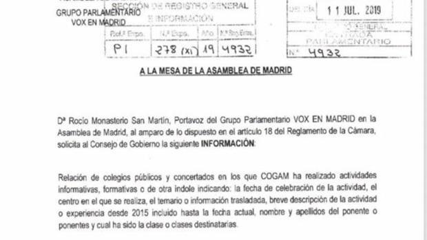 Petición de información sobre las charlas LGTBI registrada por Vox