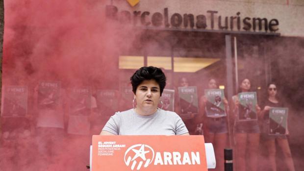 La portavoz de Arran, Adriana Roca, este miércoles en Barcelona