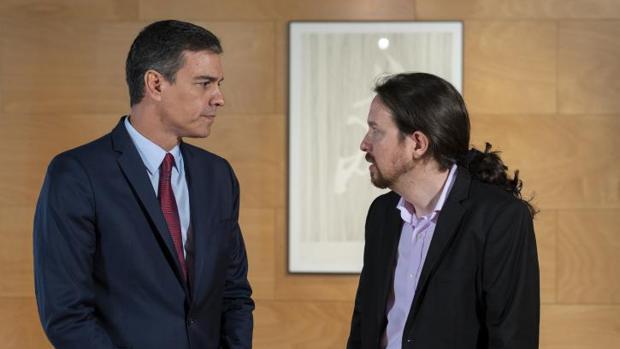 Sánchez e Iglesias, en una reunión en el Congreso de este mes de julio
