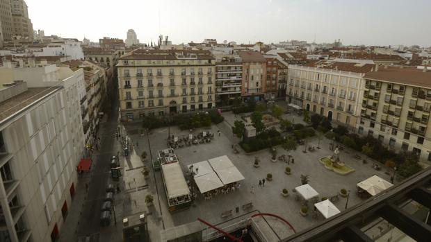 Vista aérea de la Plaza de Pedro Zerolo, ayer