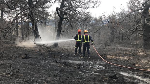 Dos bomberos trabajan en una zona arrasada por el fuego en Madrid este mes de agosto