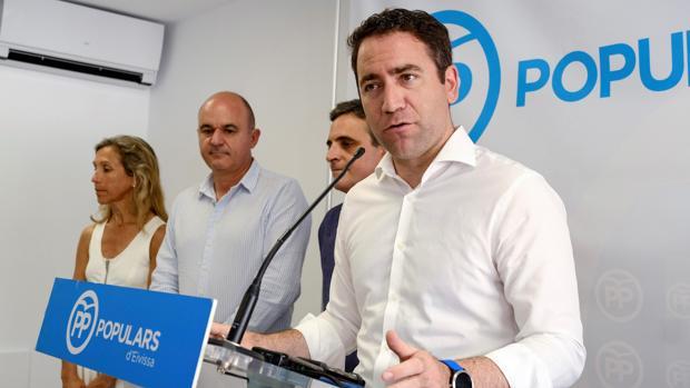 El secretario general del PP, Teodoro García Egea, durante su comparecencia en Ibiza