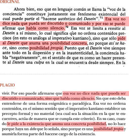 Plagio del libro de Cruz (pág. 193) a «Introducción a Heidegger», de G. Vattimo (pág. 52)