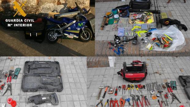 Objetos y material decomisado a los arrestados