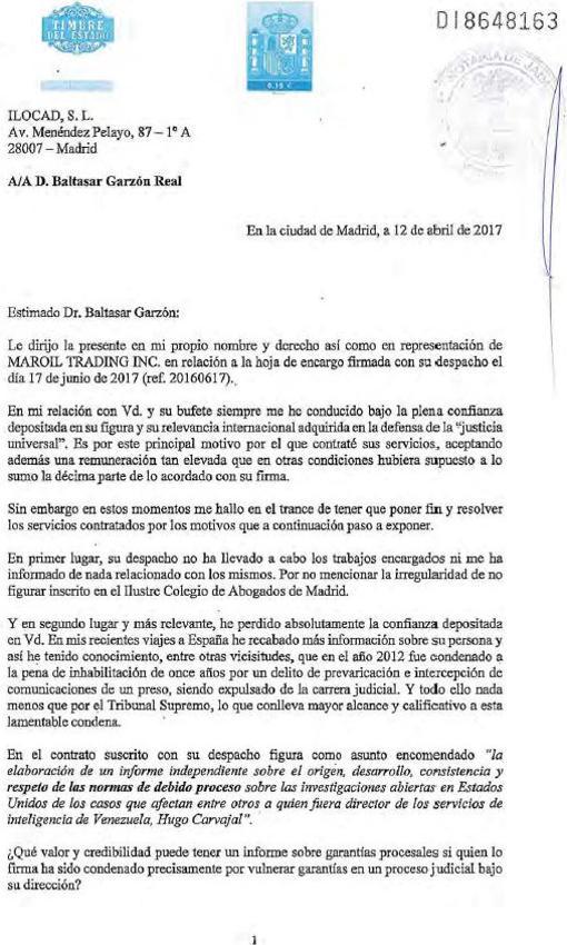 Primera página de la carta remitida por Ruperti a Garzón y firmada ante notario