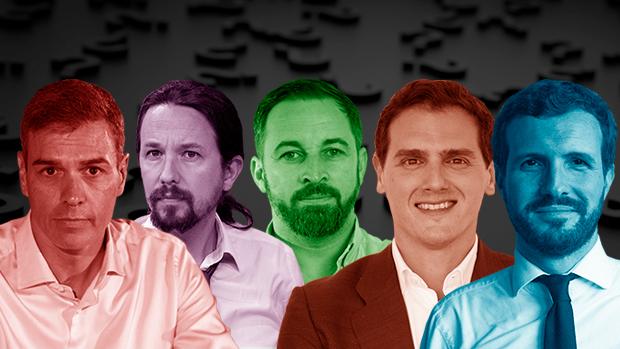 Sánchez, Iglesias, Abascal, Rivera y Casado