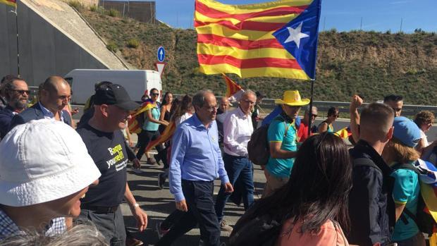 El presidente catalán, Quim Torra, en las marchas de la ANC