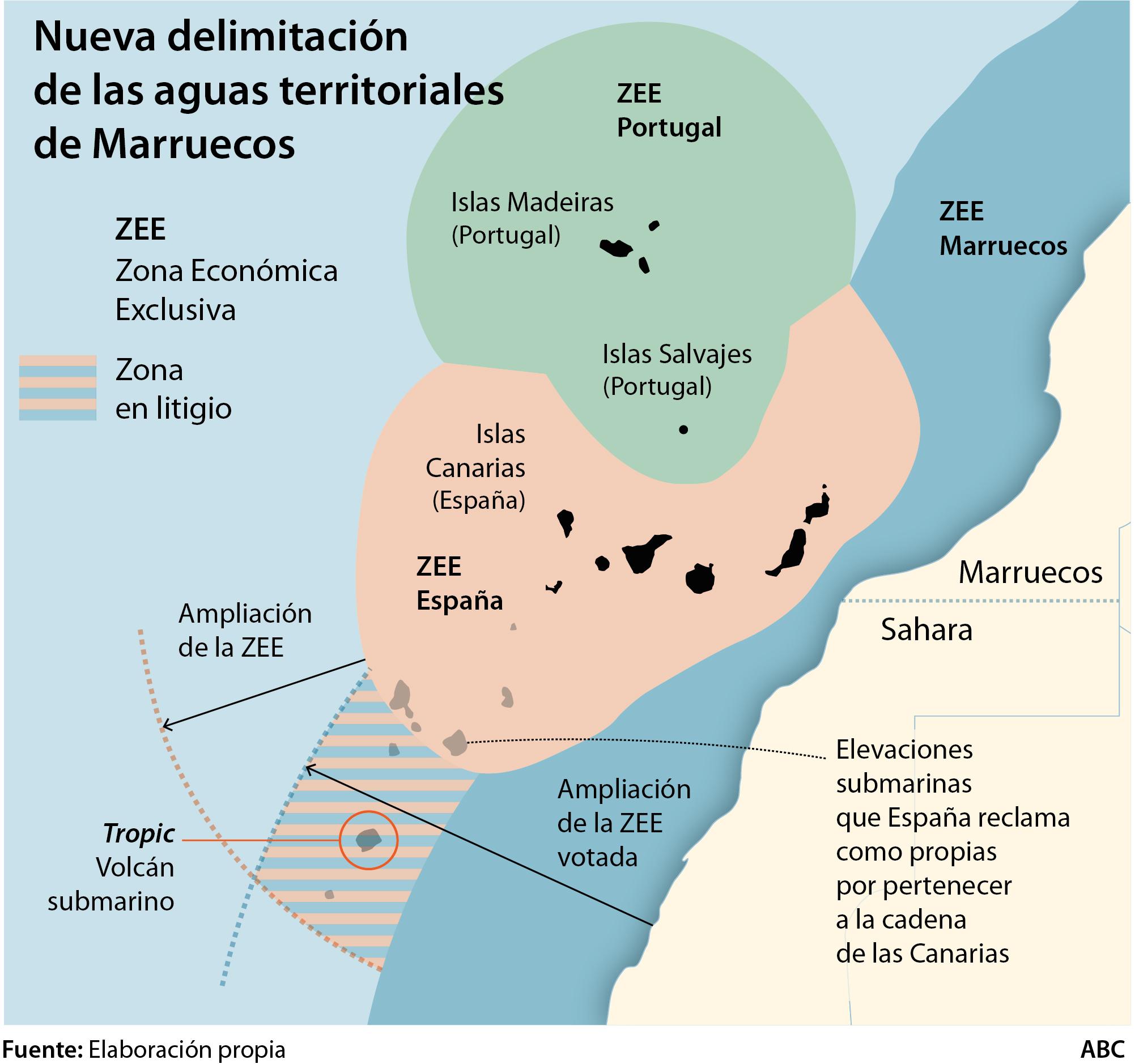 Marruecos aprueba la ampliación de su frontera marítima hacia Canarias