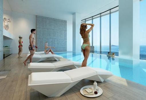 Виртуальный образ того, на что будет похож бассейн на 26 этаже здания