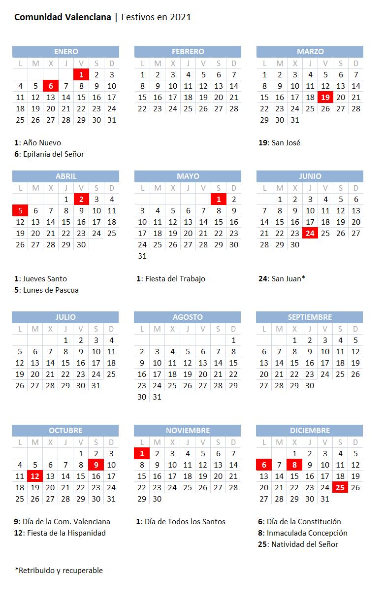 Calendario laboral 2021 en Valencia: consulte aquí los festivos