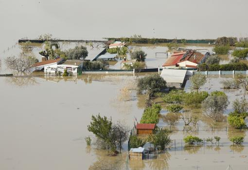 Aerial view of lands and properties flooded by the overflowing waters of the Ebro