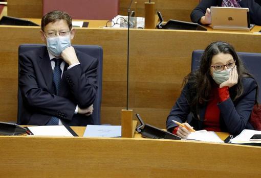 Ximo Puig y Mónica Oltra en Les Corts Valencianes, hace unos días