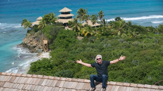 Richard Branson en necker Island cuando aún no había sido sacudida por «Irma»