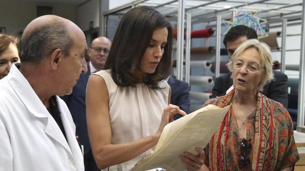 Doña Letizia, durante un momento de la visita