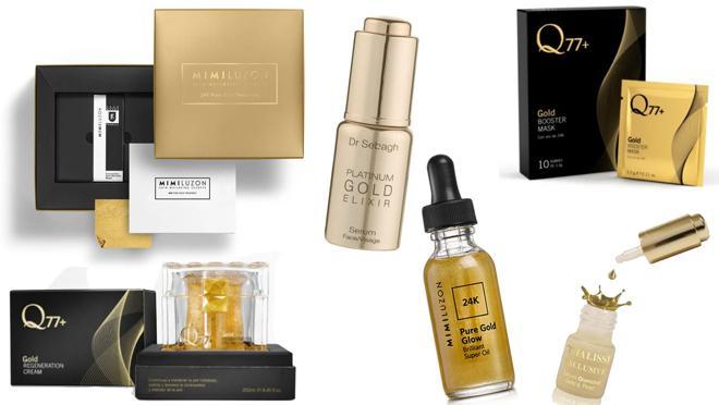 De izda. a dcha.: 24 Karat Pure Gold Mask, de Mimi Luzon (340€). Gold regeneration cream, de Q77+ (290€). Platinum Gold Elixir, de Dr. Sebag (515 €). 24 Karat Pure Gold Super Oil Glow Brilliant, de Mimi Luzon (230€). Gold Booster Mask, de Q77+ (120€). Suero de oro y perlas, de Thalissi (C.P.V.).