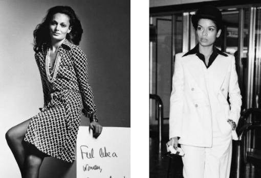 Diane von Furstenberg (izq.) dejó el vestido wrap para la eternidad. Der., Bianca Jagger, perfecta en un sastre blanco