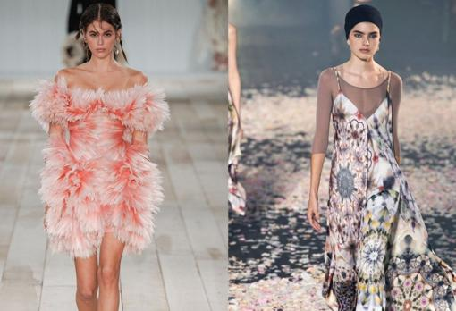 On the left, at the Alexnder McQueen Spring - Summer 2019 Fashion Show;  on the right, the Dior proposal