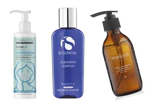 From left to right: Cameleon Cosmetics Maskné Repair Facial Cleansing Gel with Niacinamide (€ 9.90), for skin with acne .;  Cleansing Complex by is Clinical (€ 50);  Nourishing & Hydrating Nourishing Facial Cleanser & amp;  Moisturizing Face Cleanser by Mokosh Cosmetics (€ 19).
