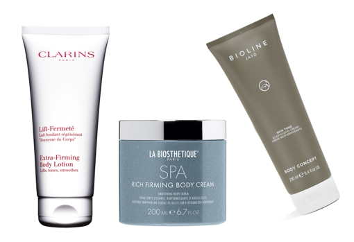 From left to right: Clarins Lift-Fermerté Firming Body Milk (€ 57);  Nourishing, firming and anti-cellulite cream Rich Firming Body Cream by La Biosthetique (€ 44.50);  Firming dermo-repairing treatment Skin Tone Elasticizing Cream by Bioline Jato (€ 70).