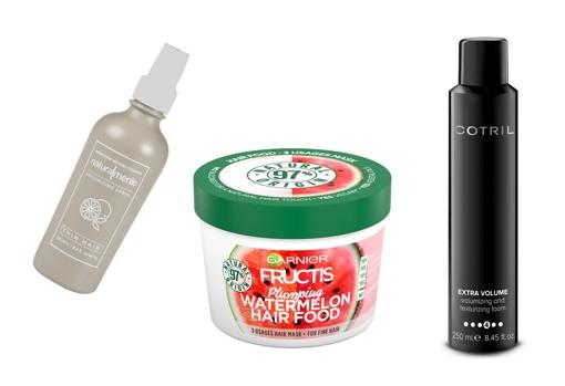 From left to right: Naturalmente Thin Hair Volumizing Spray (€ 29.50);  Garnier Fructis Hair Revitalizing Hair Food Watermelon Mask for fine hair (€ 4.44);  Cotril Extra Volume volume enhancing mousse (€ 16.60).
