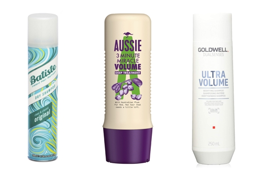 From left to right: Batiste dry shampoo (€ 3.50);  Aussie 3 Minute Miracle Aussome Volume Mask for Fine Hair (€ 5.99);  Goldwell Ultra Volume shampoo for fine hair (€ 9.87).