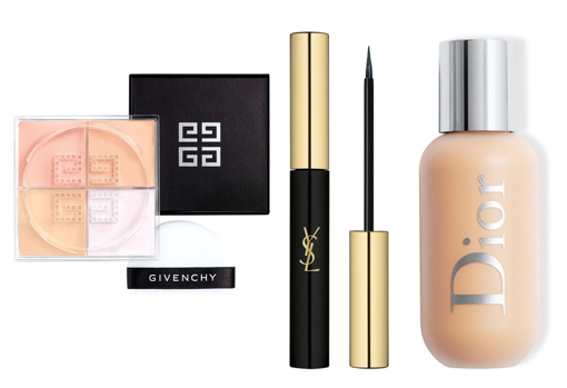From left to right: Givenchy Prisme Libre mattifying and illuminating loose powder (€ 51);  Yves Saint Laurent Beauté Coutoure Eyeliner Eyeliner (€ 26);  Long-lasting and waterproof Dior Backstage makeup base (€ 41).
