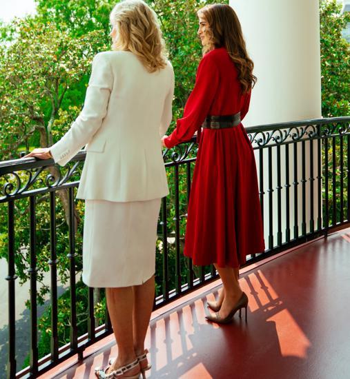 Jill Biden and Rania of Jordan at the White House.