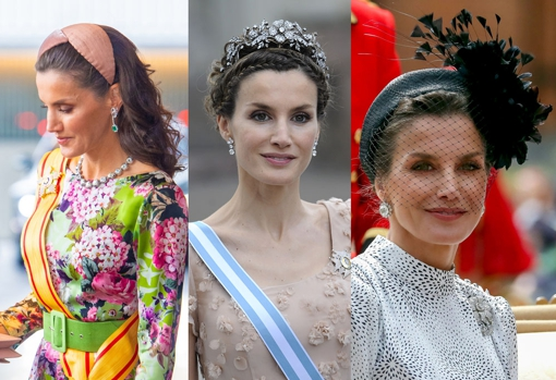 Doña Letizia with diadem, tiara and headdress.