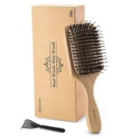 Wooden hair brush with boar bristles