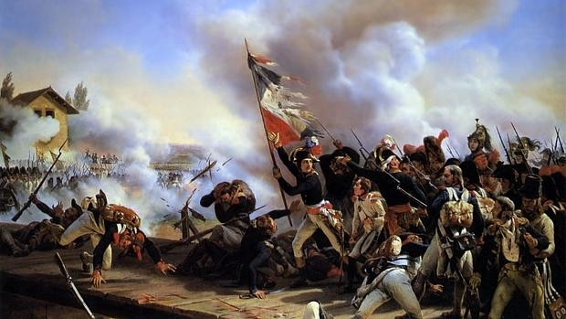 Napoleón liderando a sus tropas en la Batalla del puente de Arcole.