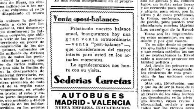 El primer anuncio de rebajas de enero de Sederías Carretas el 2 de enero de 1940 en ABC
