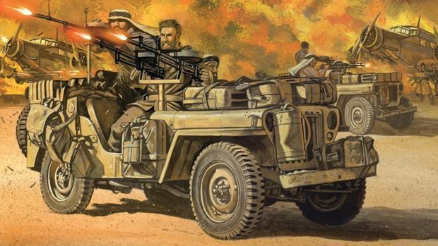 Recreación del ataque del SAS sobre Sidi Haneish