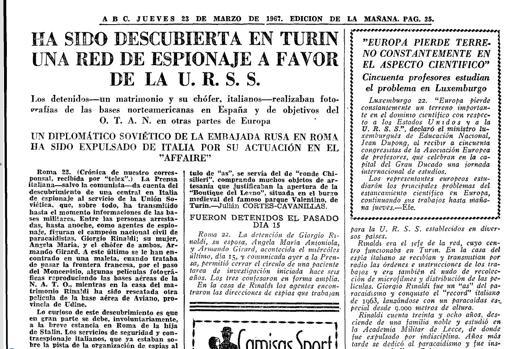 Noticia de ABC sobre la detención del matrimonio Rinaldi en Turín, 23 de marzo de 1967