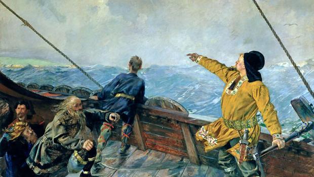 «Leif Ericsson descubre América», por Christian Krohg