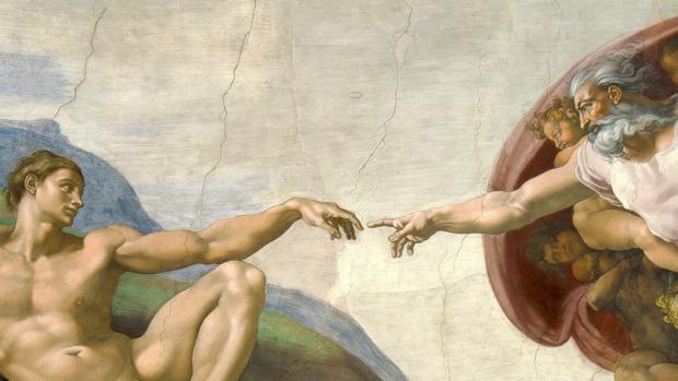 La creación de Adán, la más famosa de las imágenes de la bóveda.