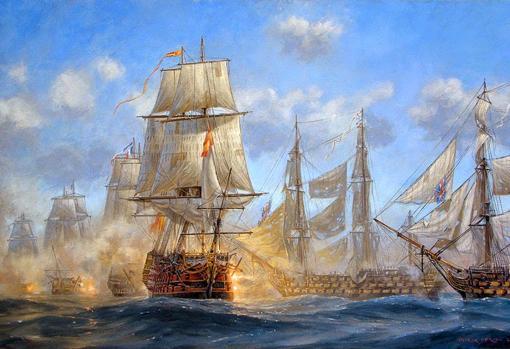 Buques españoles durante la batalla de Trafalgar
