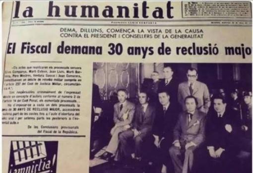 Noticia de «La Humanitat», durante el juicio a Companys