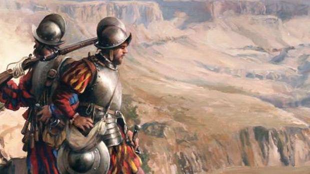 Detalle del cuadro conquista del Colorado, óleo de Augusto Ferrer-Dalmau