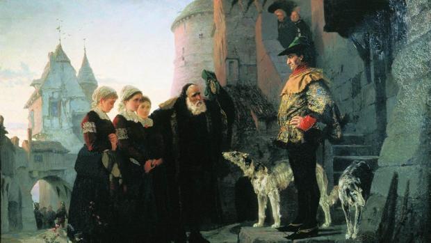 Un cuadro historicista que recrea de manera idealizada la escena de un anciano entregando sus jóvenes hijas al señor feudal.