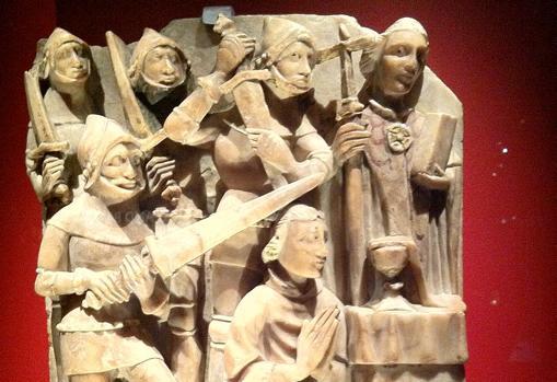 Martirio de Thomas Becket, asesinado por cuatro caballeros a petición del rey Enrique II de Inglaterra.