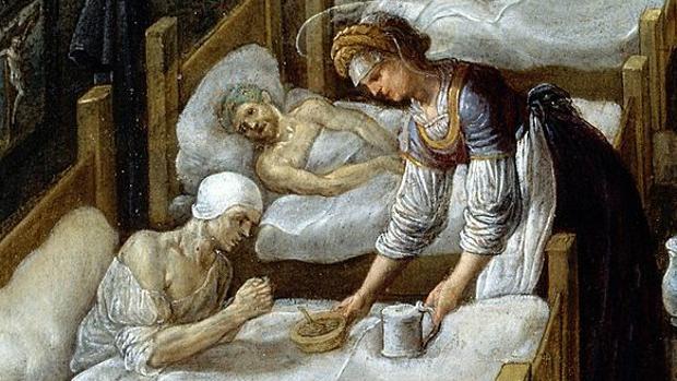 Detalle de un cuadro de Adam Elsheimer, pintado en 1598, en el que se muestran los cuidados en un hospital medieval de la Edad media